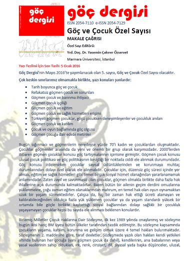 Göç Dergisi Makale Cagrisi: Goc ve Cocuk